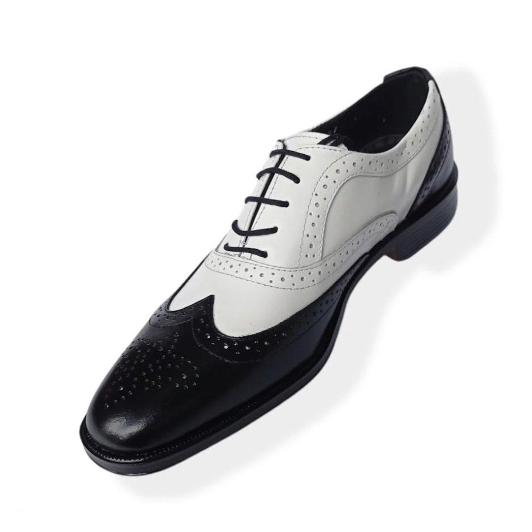 Zapato de vestir para hombre negro con blanco