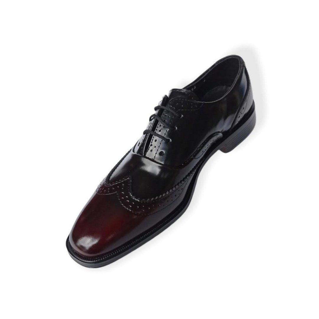 Zapato de vestir para hombre negro con vino en la punta