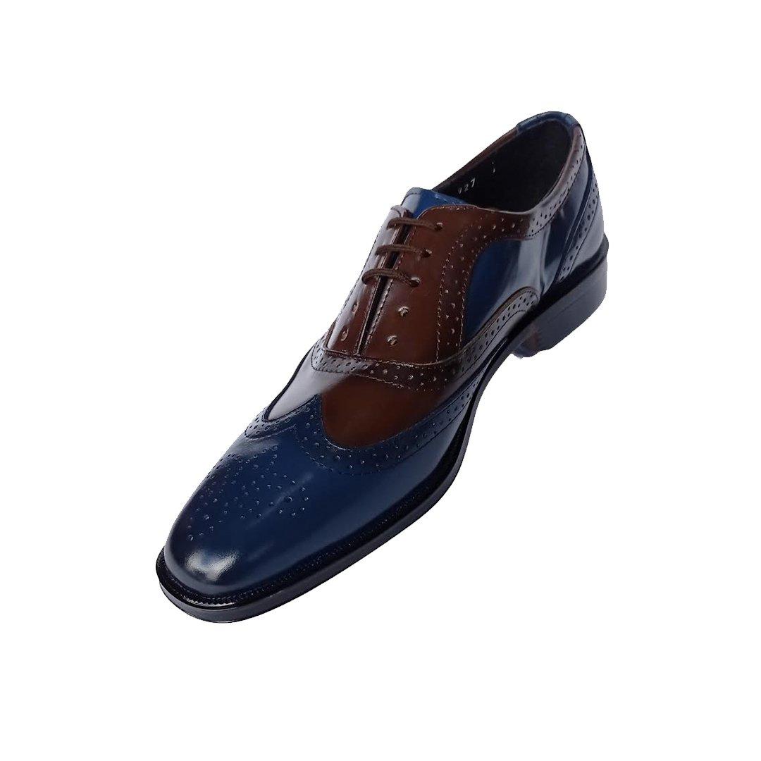 Zapato color brandy azul para hombre